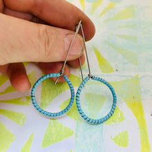 Load image into Gallery viewer, Aqua Spiraled Circle Upcycled Earrings
