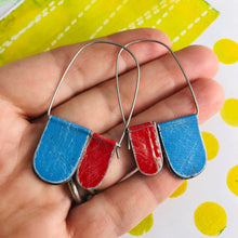 Load image into Gallery viewer, Sky & Scarlet Arch Dangle Tin Earrings
