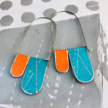 Load image into Gallery viewer, Antiqued Aqua & Persimmon Arch Dangle Tin Earrings