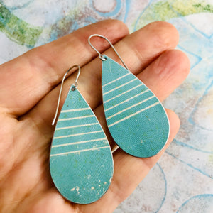Soft Aqua White Lines Upcycled Teardrop Tin Earrings