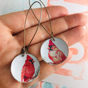 Winter Cardinals Large Basin Earrings