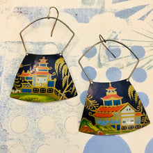 Load image into Gallery viewer, Pagodas on Midnight Blue  Large Zero Waste Tin Earrings