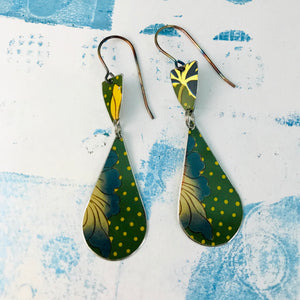 Green Polka Dot Teardrops Tin Earrings