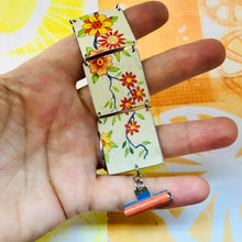 Load image into Gallery viewer, Vintage Flowery Upcycled Tin Bracelet