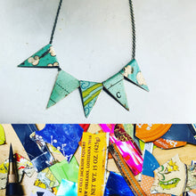 Load image into Gallery viewer, Vintage Aqua Pennants Boho Upcycled Tin Necklace