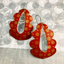 Load image into Gallery viewer, Vintage Scarlet and Golden Starlets Wavy Upcycled Tin Earrings