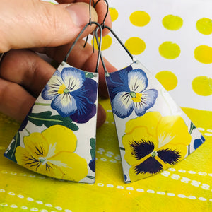 Purple & Yellow Violets Zero Waste Tin Long Fans Earrings