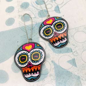 Smaller Sugar Skulls Upcycled Tin Earrings