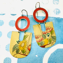 Load image into Gallery viewer, Flower Bowl Chunky Horseshoes Zero Waste Tin Earrings