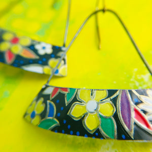 Stylized Flowers Wide Arc Edge Recycled Tin Earrings