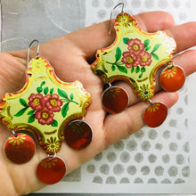 Load image into Gallery viewer, Shimmery Red & Gold Zero Waste Tin Chandelier Earrings