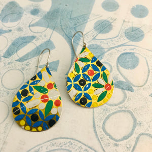 Bright Mosaic Upcycled Teardrop Tin Earrings