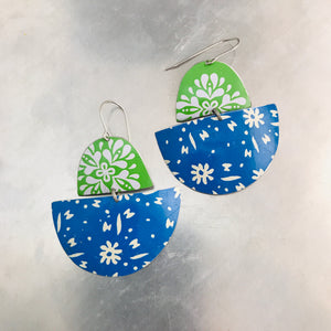 White Flowers on Blue & Green Boats Upcycled Tin Earrings