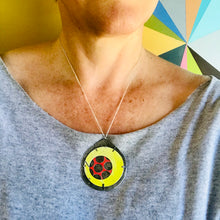 Load image into Gallery viewer, Encircled Red in Sunny Yellow Upcycled Tin Earrings