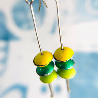 Greens & Yellow Tiny Macarons Tin Earrings