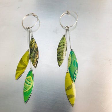 Falling Leaves in Mixed Greens Upcycled Tin Earrings by Christine Terrell for adaptive reuse jewelry