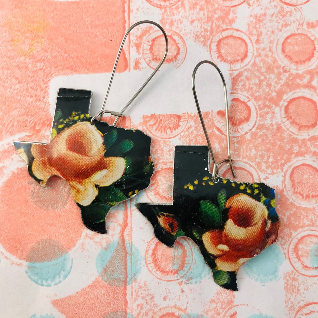 Pink Roses on Black Texas Upcycled Tin Earrings
