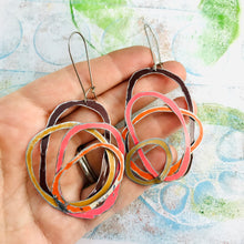 Load image into Gallery viewer, Chocolate, Coral, Persimmon, & Gold Scribbles Upcycled Tin Earrings