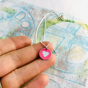 Tiny Etched Silver Heart on Pink Upcycled Tin Necklace