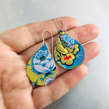 Load image into Gallery viewer, Stylized Flowers on Bright Blue Upcycled Teardrop Tin Earrings