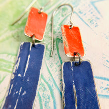 Load image into Gallery viewer, Bright Red & Blue Recycled Tin Earrings
