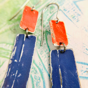 Bright Red & Blue Recycled Tin Earrings