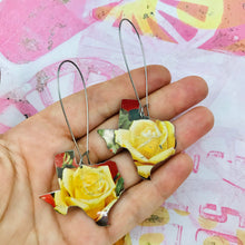 Load image into Gallery viewer, Yellow Rose of Texas Upcycled Tin Earrings