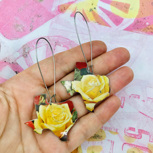 Yellow Rose of Texas Upcycled Tin Earrings