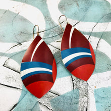 Load image into Gallery viewer, Mixed Red White and Blue Upcycled Long Pod Tin Earrings