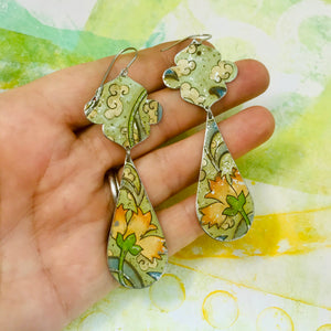 Vintage Pink Flowers Long Teardrops Zero Waste Tin Earrings