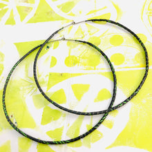 Load image into Gallery viewer, Spiraled Tin Giant Gray Hoop Earrings