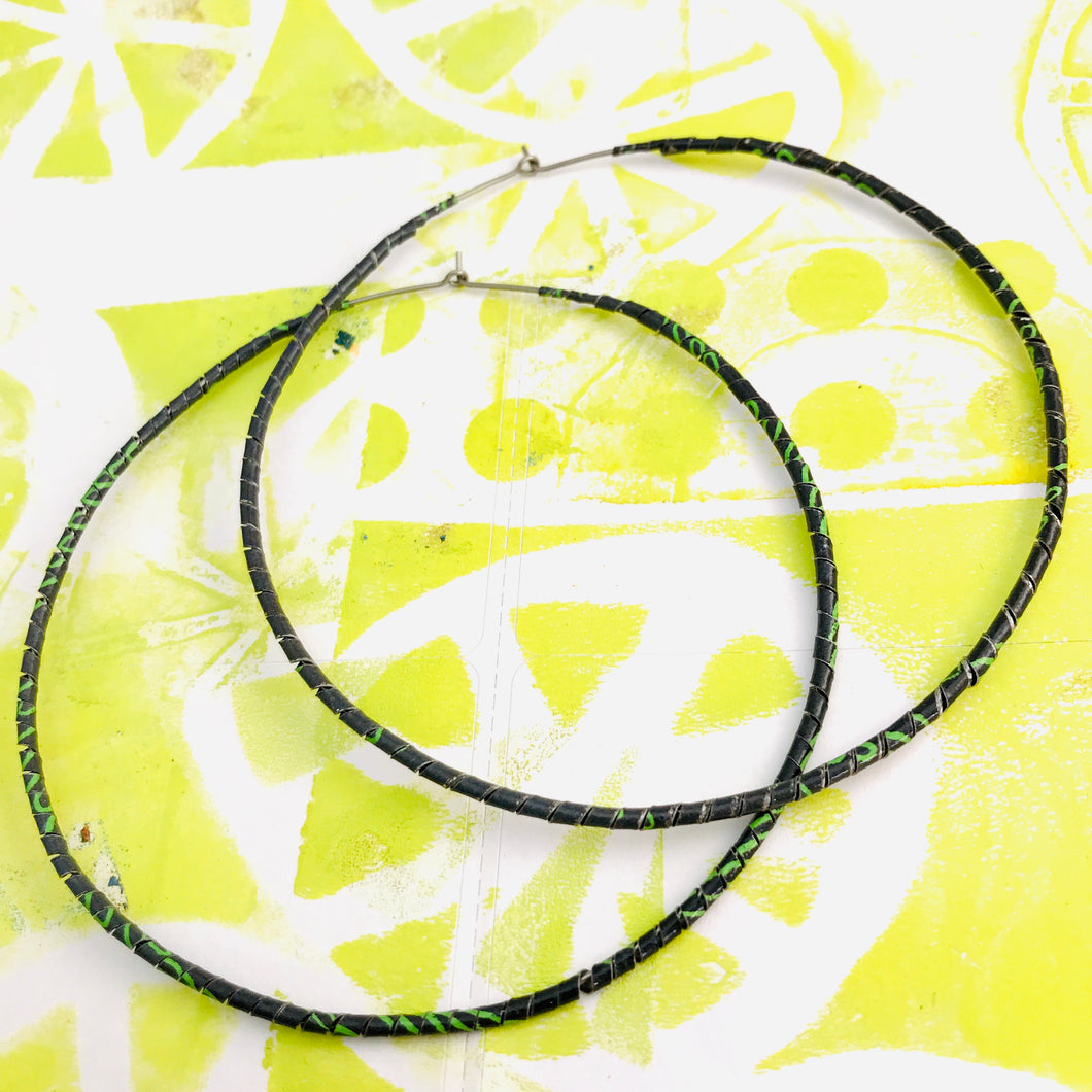 Spiraled Tin Giant Gray Hoop Earrings