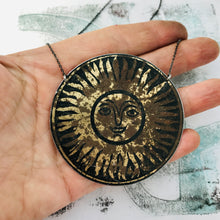 Load image into Gallery viewer, Happy Sun Upcycled Tin Necklace