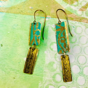 Mixed Vintage Edge Pattern Turquoise & Gold Recycled Tin Earrings