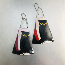 Load image into Gallery viewer, Halloween Owl Upcycled Tin Earrings