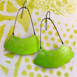 Chartreuse Spirograph Wide Arc Zero Waste Earrings