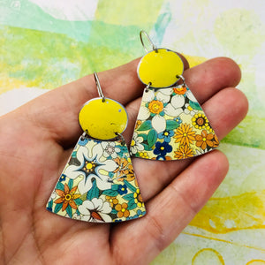 All over Flowers and Butter Ovals Small Fans Zero Waste Tin Earrings