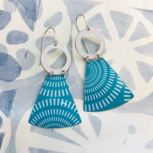 Load image into Gallery viewer, Turquoise Radial Pattern Small Fans Zero Waste Tin Earrings