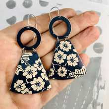 Load image into Gallery viewer, Midnight Blue & Ecru Tiny Flowers Small Fans Tin Earrings