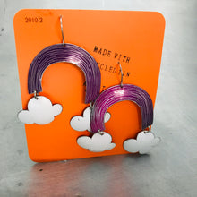 Load image into Gallery viewer, Purple Etched Rainbows with Puffy Clouds Upcycled Tin Earrings