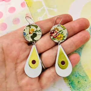 Flowers & Long White Teardrops Tin Earrings
