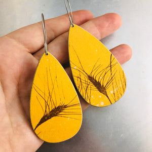 Wheat Stalks on Goldenrod Recycled Book Cover Earrings