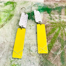 Load image into Gallery viewer, Bright Yellow & White Recycled Tin Earrings