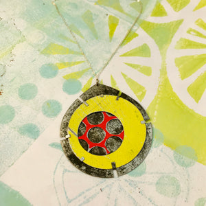 Encircled Red in Sunny Yellow Upcycled Tin Earrings