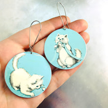 Load image into Gallery viewer, Fluffy White Kittens on Aqua Big Circle Tin Earrings