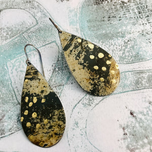 Oxidized and Gold Leaf Upcycled Teardrop Tin Earrings