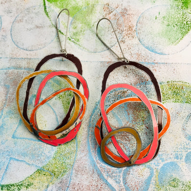 Chocolate, Coral, Persimmon, & Gold Scribbles Upcycled Tin Earrings