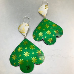 Green & Golden Starlets Trefoil Zero Waste Tin Earrings 30th Birthday Gift