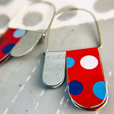 Scarlet & Silver Polka Dots Arch Dangle Tin Earrings