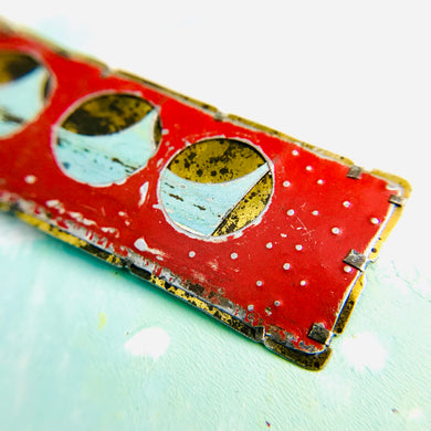 Encircled Weathered Red Over Pale Aqua Upcycled Tin Brooch